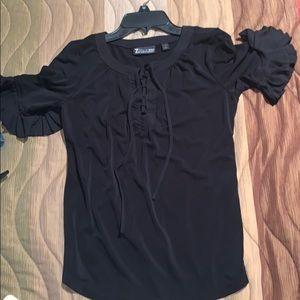 Black String Up Shirt
